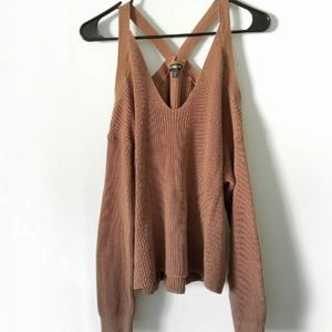 Brown express sweater with open sholder